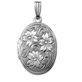 White Gold Lockets White Gold Floral Locket