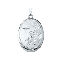 White Gold Lockets Floral Spray White Gold Locket