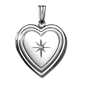White Gold Lockets Ribbed White Gold Heart Locket