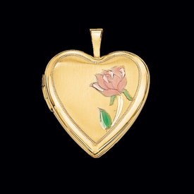 Single Rose 14k Gold Locket