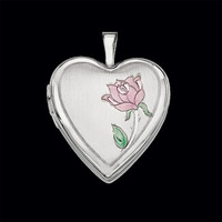 Single Rose 14k Gold Heart Locket