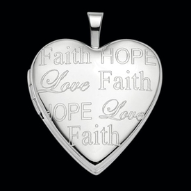 Faith Love Hope Heart Locket