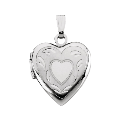 White Gold Heart Locket