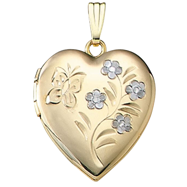 Butterfly Floral Gold Locket Fun And Feminine Design For