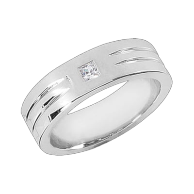 Men's Handsome Grooved Diamond Band