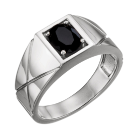 Mens Rings Men's Gold Onyx Ring