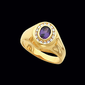 Mens Rings Men's Diamond Border Gemstone Ring