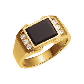 Diamond Onyx Men's Ring