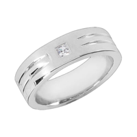 Mens Rings Men's Handsome Grooved Diamond Band