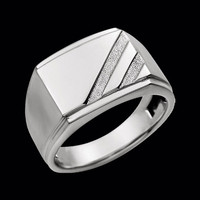 Men's White Gold Signet Ring