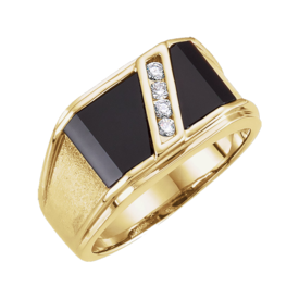 Diamond and Onyx Mans Ring