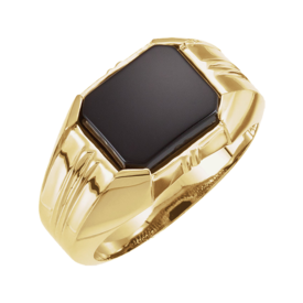 Mens Rings Mens Onyx Gold Ring