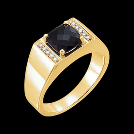Mens Rings Handsome Men's Onyx Diamond Ring
