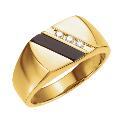 Handsome Onyx and Diamond Ring