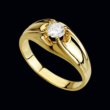 Striking Mens Gold Diamond Ring