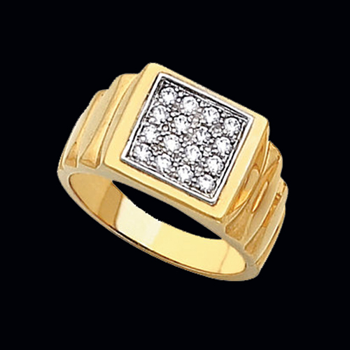 Mens Gold Cluster Diamond Ring