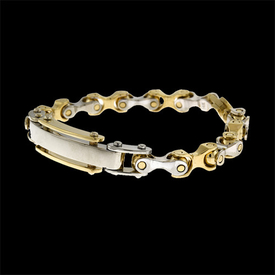 14k Gold Two Tone Franco ID Bracelet
