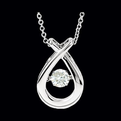 Pass Design Teardrop Diamond Motion Necklace