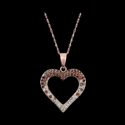 Pink & White Diamond Heart Necklace