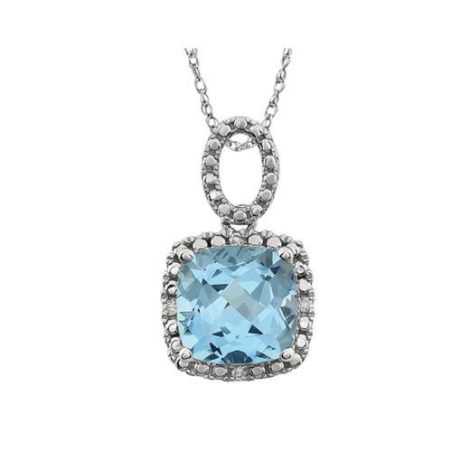 Sky Blue Topaz Diamond Necklace