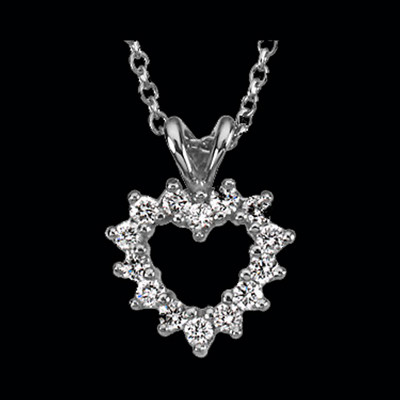 CE164-69 Platinum Diamond Heart Necklace