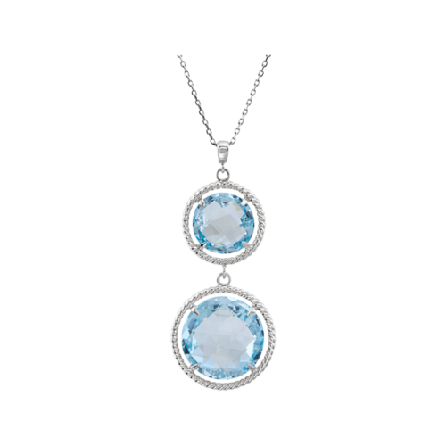 Swiss Blue Topaz Rope Design Necklace