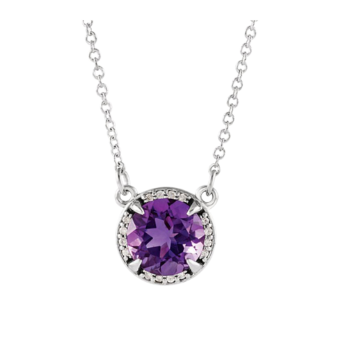 Diamond Halo 8mm Gemstone Necklace