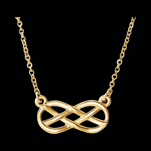 Gold Infinity Style Knot Design Necklace