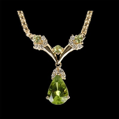 Vibrant Peridot & Diamond Necklace