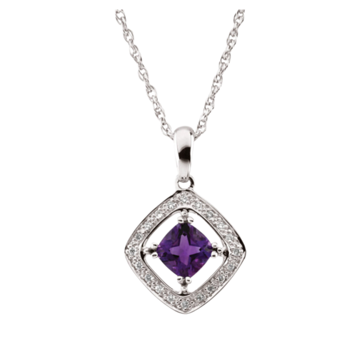 14k White Gold Amethyst & Diamond Necklace