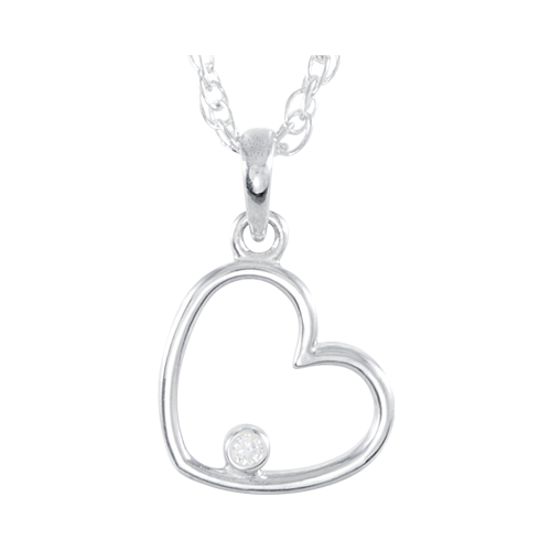 Diamond Side Hanging Heart Necklace