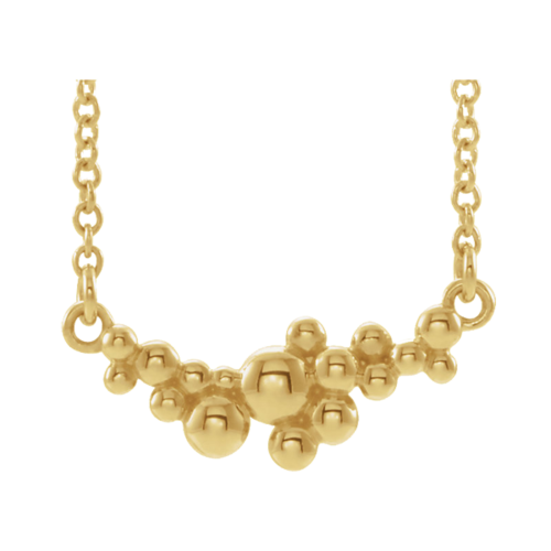 14k Gold Scattered Bead Necklace