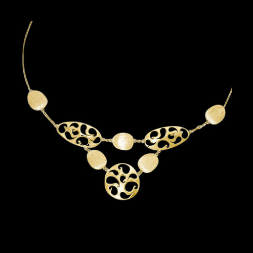 14k Gold Polished and Brushed Necklace