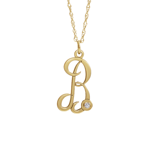 14k Gold Initial Diamond Accent Necklace
