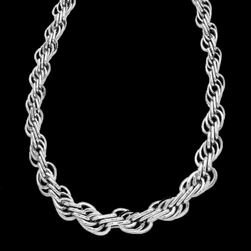 Fancy White Gold Link Necklace