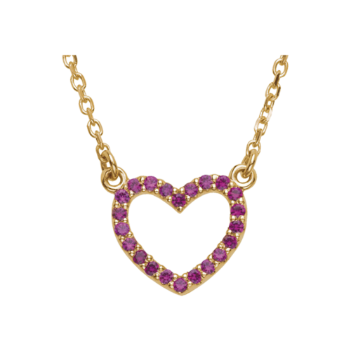 14k Gold Ruby Heart Necklace