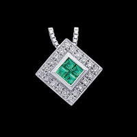 White Gold Emerald and Diamond Necklace