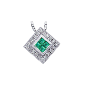 Gemstone Necklaces White Gold Emerald and Diamond Necklace