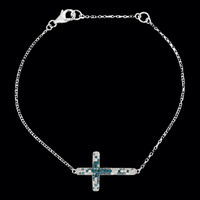 Blue & White Diamond Sideways Cross Necklace