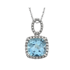 Gemstone Necklaces Sky Blue Topaz Diamond Necklace