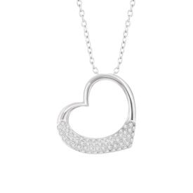 Heart Necklace Diamond Heart Side Hang Necklace