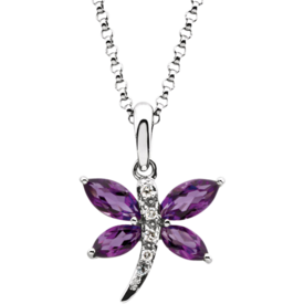 Gemstone Necklaces Amethyst Dragonfly Necklace