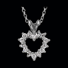 Platinum Necklaces CE164-69 Platinum Diamond Heart Necklace