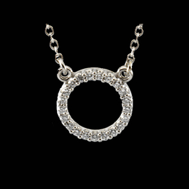 Platinum Diamond Circle Necklace