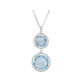 Gemstone Necklaces Swiss Blue Topaz Rope Design Necklace