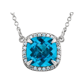 Swiss Blue Topaz Diamond Necklace