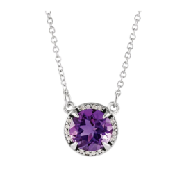 Gemstone Necklaces Diamond Halo 8mm Gemstone Necklace