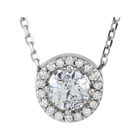 Diamond 1/2ctw Halo Style Necklace