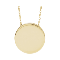 Gold Necklace Gold Engravable Scroll Disc Necklace