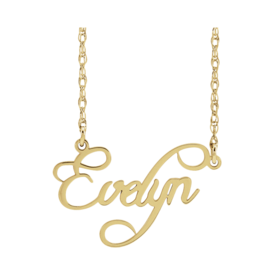 Gold Necklace Script Nameplate Necklace